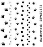 animal tracks. editable vector... | Shutterstock .eps vector #689653573