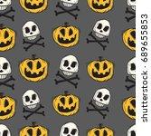 cartoon pumpkins and skull... | Shutterstock .eps vector #689655853