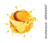 mango juice with fruit....   Shutterstock . vector #689656447