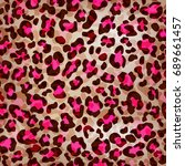 seamless leopard pattern can be ... | Shutterstock .eps vector #689661457