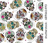 beautiful sugar skulls seamless ... | Shutterstock .eps vector #689661493