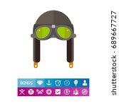 retro aviator helmet with...   Shutterstock .eps vector #689667727