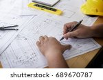 hand of engineering use a... | Shutterstock . vector #689670787