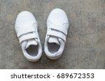 Closeup White Sneakers Of Kid ...
