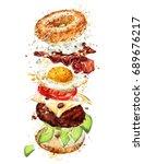 breakfast burger. watercolor... | Shutterstock . vector #689676217