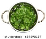 spinach leaves fresh washed in... | Shutterstock . vector #689690197