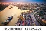 container ship in import export ... | Shutterstock . vector #689691103