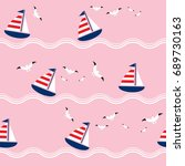 seamless pattern with sailing... | Shutterstock .eps vector #689730163