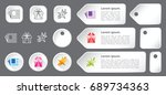 three line icon set  gradient... | Shutterstock .eps vector #689734363