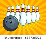 skittles and bowling ball pop... | Shutterstock .eps vector #689735023