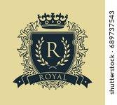 coat of arms. heraldic royal... | Shutterstock . vector #689737543