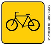 bike sign. yellow. | Shutterstock .eps vector #689746693