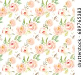 cute  vintage watercolor flower ... | Shutterstock . vector #689765383