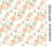cute  vintage watercolor flower ... | Shutterstock . vector #689765383