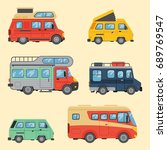 campers vacation travel car... | Shutterstock .eps vector #689769547