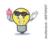 light bulb character cartoon... | Shutterstock .eps vector #689769697