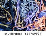 wo lined boot laces on white... | Shutterstock . vector #689769937