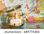 travel money savings in a glass ... | Shutterstock . vector #689774383