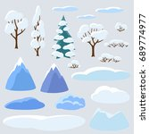 winter set of trees  mountains... | Shutterstock .eps vector #689774977
