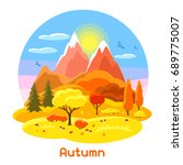 autumn landscape with trees ... | Shutterstock .eps vector #689775007