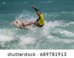 july 29  unidentified surfer in ... | Shutterstock . vector #689781913