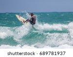 july 29  unidentified surfer in ...   Shutterstock . vector #689781937
