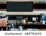behind the coffee bar in dark... | Shutterstock . vector #689782693