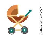 baby transport pram in brown...   Shutterstock .eps vector #689797747