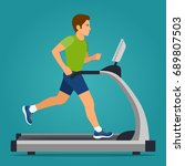 man running on treadmill... | Shutterstock .eps vector #689807503