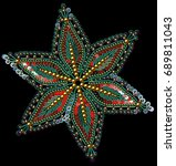sequins  beads  snowflakes  new ... | Shutterstock .eps vector #689811043
