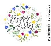 happy easter. watercolor... | Shutterstock . vector #689811733