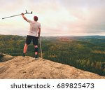 man tourist after accident use...   Shutterstock . vector #689825473
