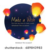 make a wish lanterns floating... | Shutterstock .eps vector #689843983
