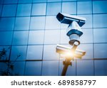 detail shot of cctv security... | Shutterstock . vector #689858797
