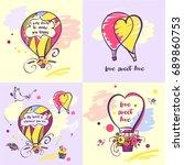 set of stylish illustration...   Shutterstock . vector #689860753