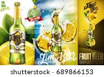 premium fruit beer with sliced... | Shutterstock .eps vector #689866153
