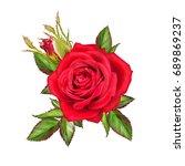 flower composition. a bud of a... | Shutterstock . vector #689869237