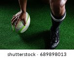 high angle view sportsman... | Shutterstock . vector #689898013