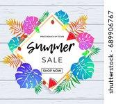summer sale poster of tropical... | Shutterstock .eps vector #689906767