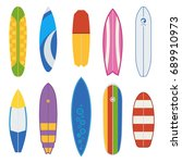 different surfboard types... | Shutterstock . vector #689910973
