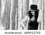stylish brunette woman walk ... | Shutterstock . vector #689912743
