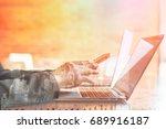 double exposure business people ...   Shutterstock . vector #689916187