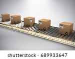 cardboard boxes on production... | Shutterstock . vector #689933647