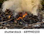 Small photo of fire burning refuse, poisonous smoke,cause of wildfire, Causes by Global Warming
