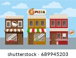 store facades. fast food cafe... | Shutterstock .eps vector #689945203