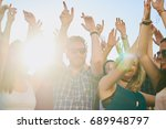 group of people dancing at... | Shutterstock . vector #689948797