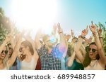 group of people dancing at... | Shutterstock . vector #689948857