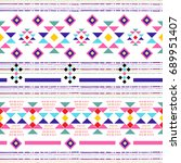 boho chic seamless pattern with ... | Shutterstock .eps vector #689951407