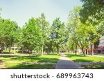 a deserted boulevard in the... | Shutterstock . vector #689963743