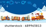 santa claus and snowman in a...   Shutterstock . vector #689965813